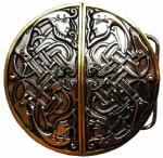 Gold & Silver Plated Twin Celtic Men Design Belt Buckle with display stand. Code ML8